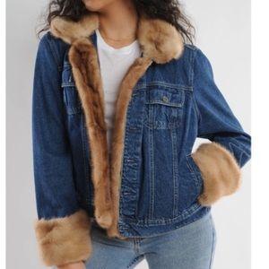 Marvin Richards Denim Faux Fur Trucker Jacket